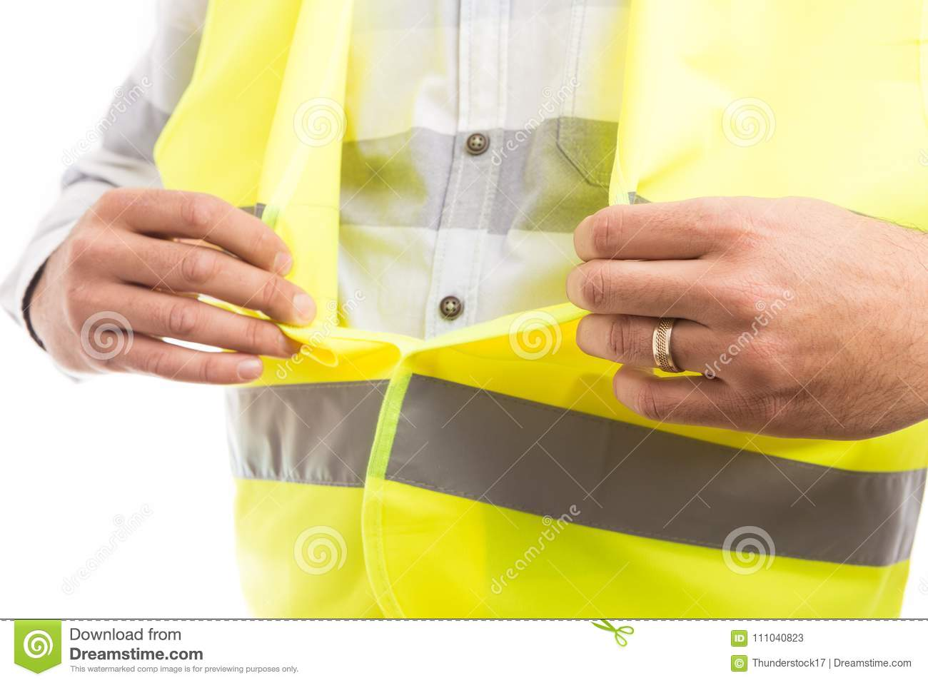 Constructor hands closing velcro reflective protective vest