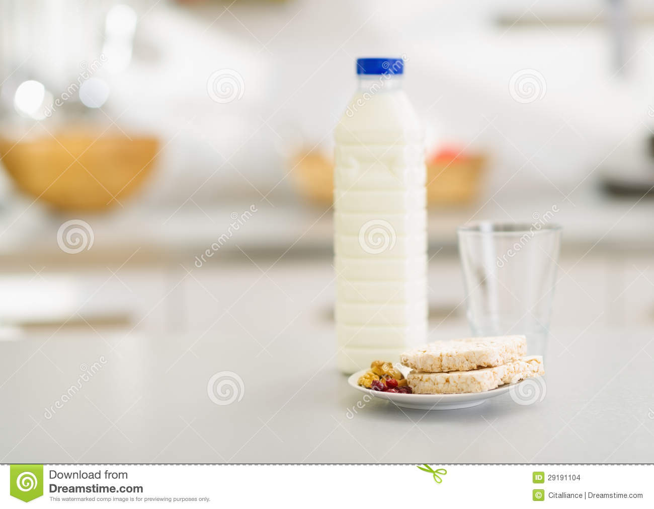 Kitchen Table Close Up closeup on crisp bread and milk on table in kitchen stock images