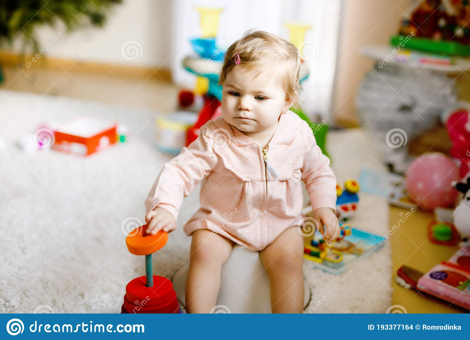 Asian little cute baby child girl education training to