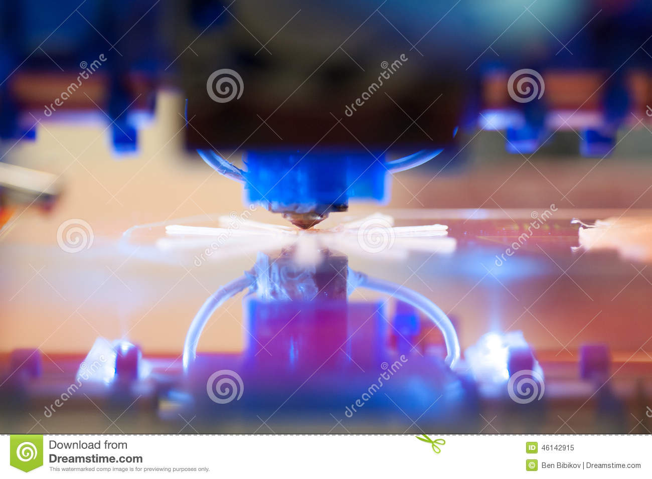 Download Closeup Of 3D Printer Printing Stock Image - Image of production, technology: 46142915