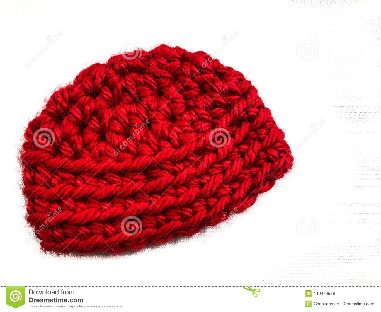 e8c4dfee Red Crocheted Baby Cap In Bulky Yarn Stock Photo - Image of bright ...