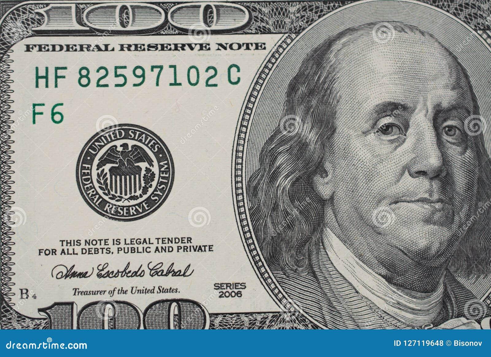 Closeup of 100 dollar bill
