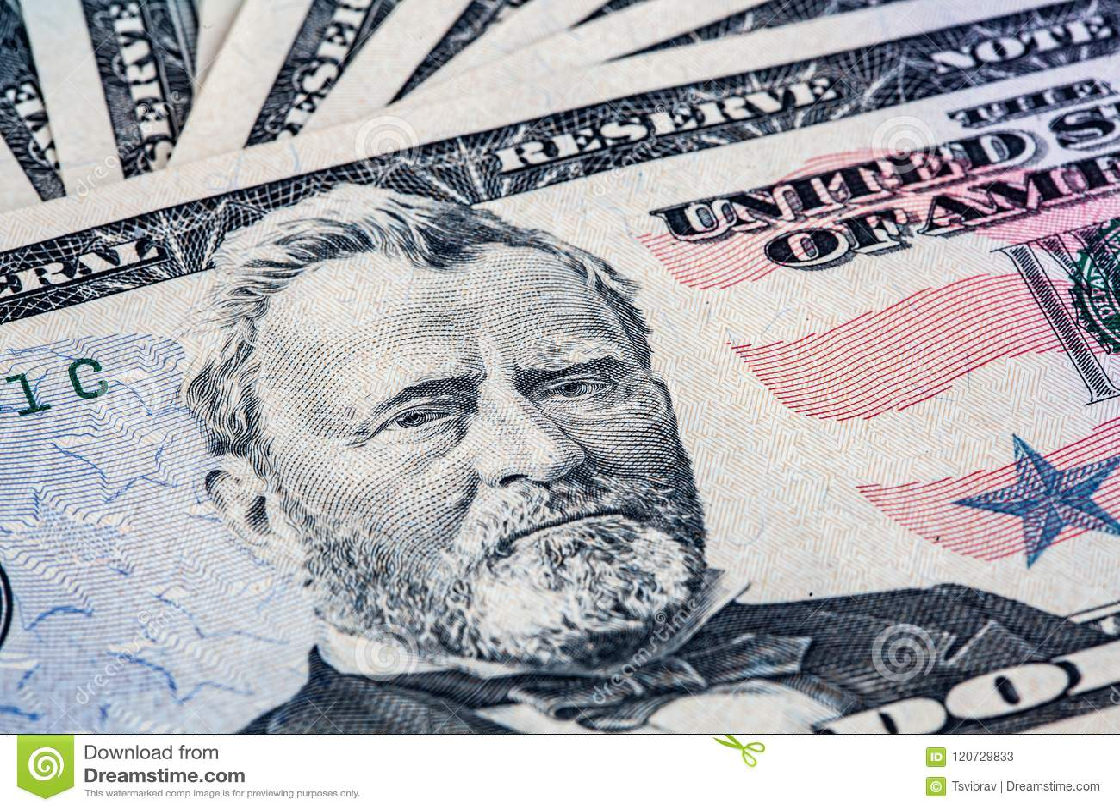 50 dollar bill with Ulysses S. Grant portrait.