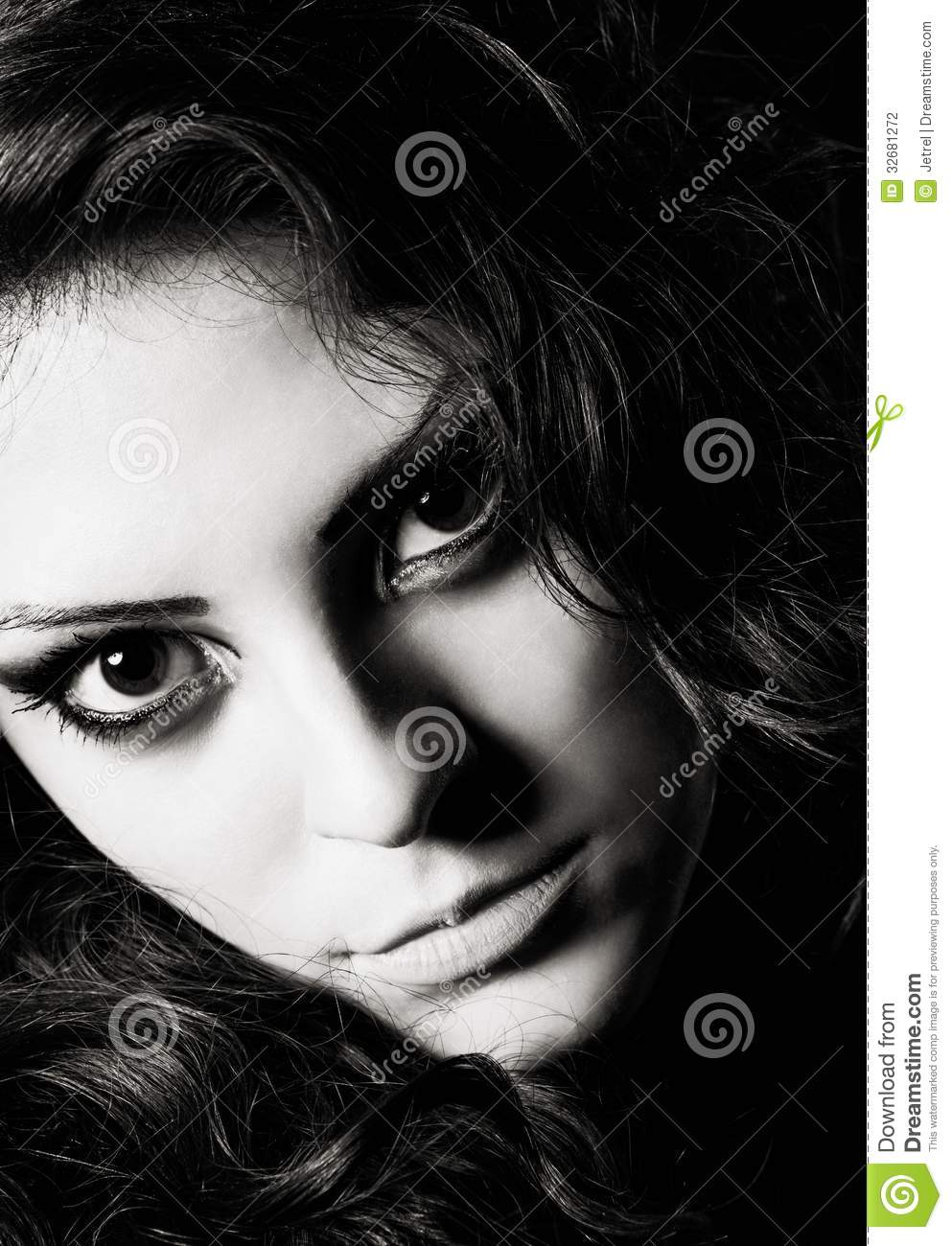 Closeup Dramatic Portrait Of Beautiful Young Girl Black And White Stock Photography -6583
