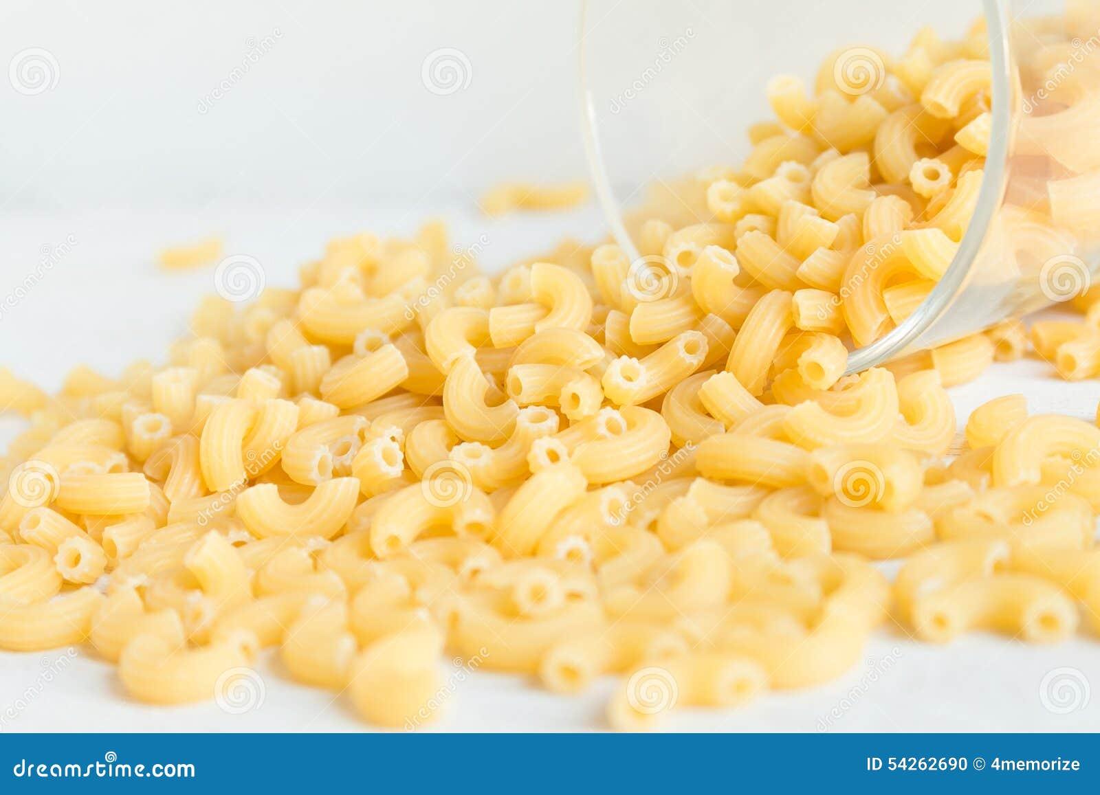 Closeup Of Dry Elbow Macaroni Pasta Stock Photo