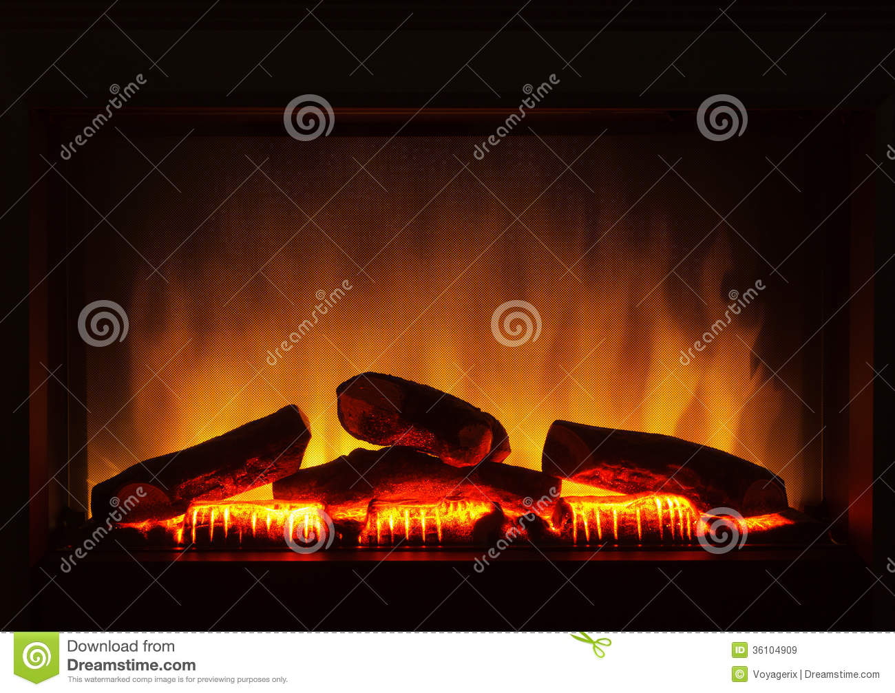 Closeup Of Electric Artificial Fireplace Orange Fire