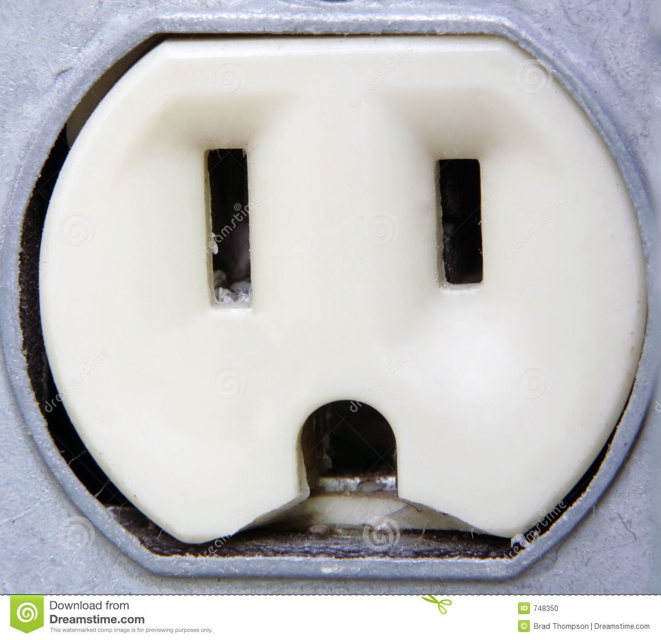 Closeup electrical extreme outlet