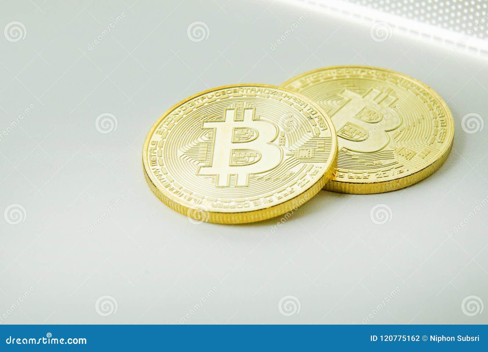 Closeup för bild för elektroniska pengar för Bitcoin crypto valuta