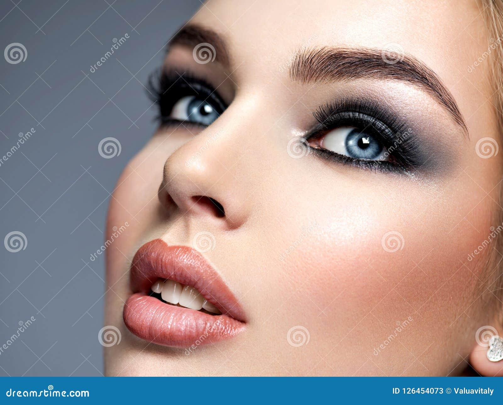 Closeup Face With Fashion Makeup Stock Image Image Of Macro