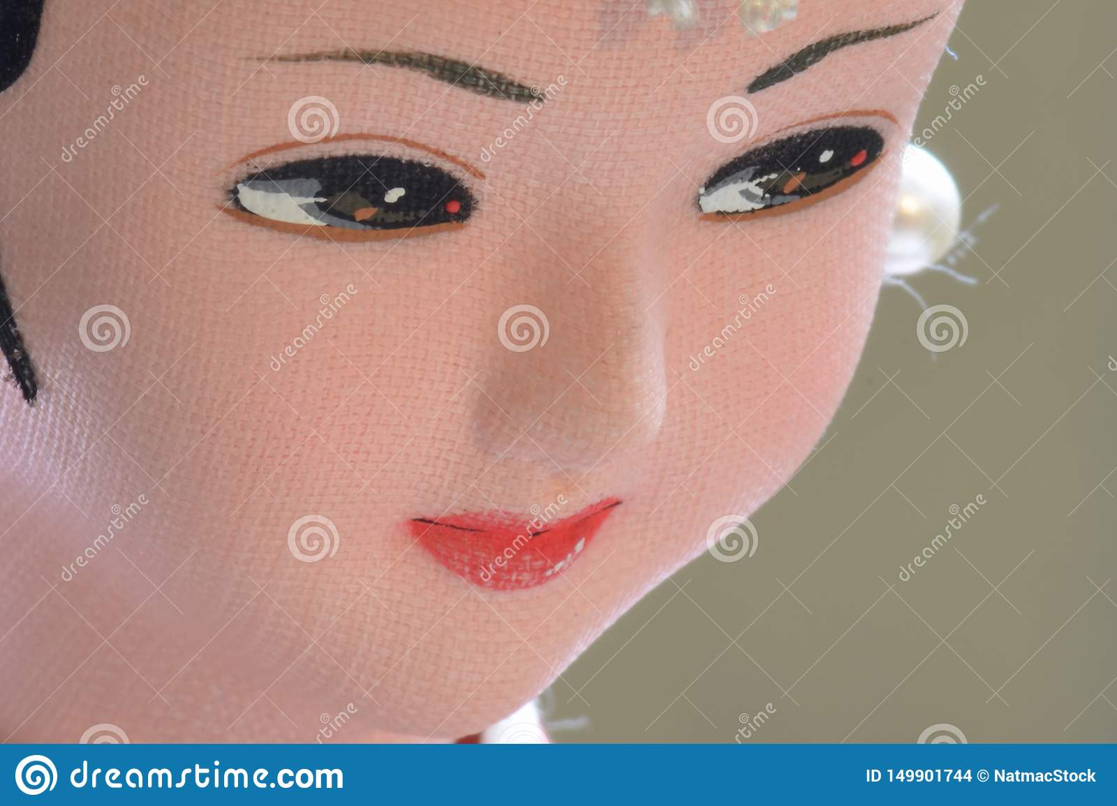 Closeup of face from traditional Korean woman doll