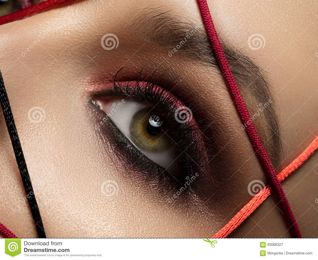 Closeup Fashion Portrait Of Young Woman Stock Image Image Of Color