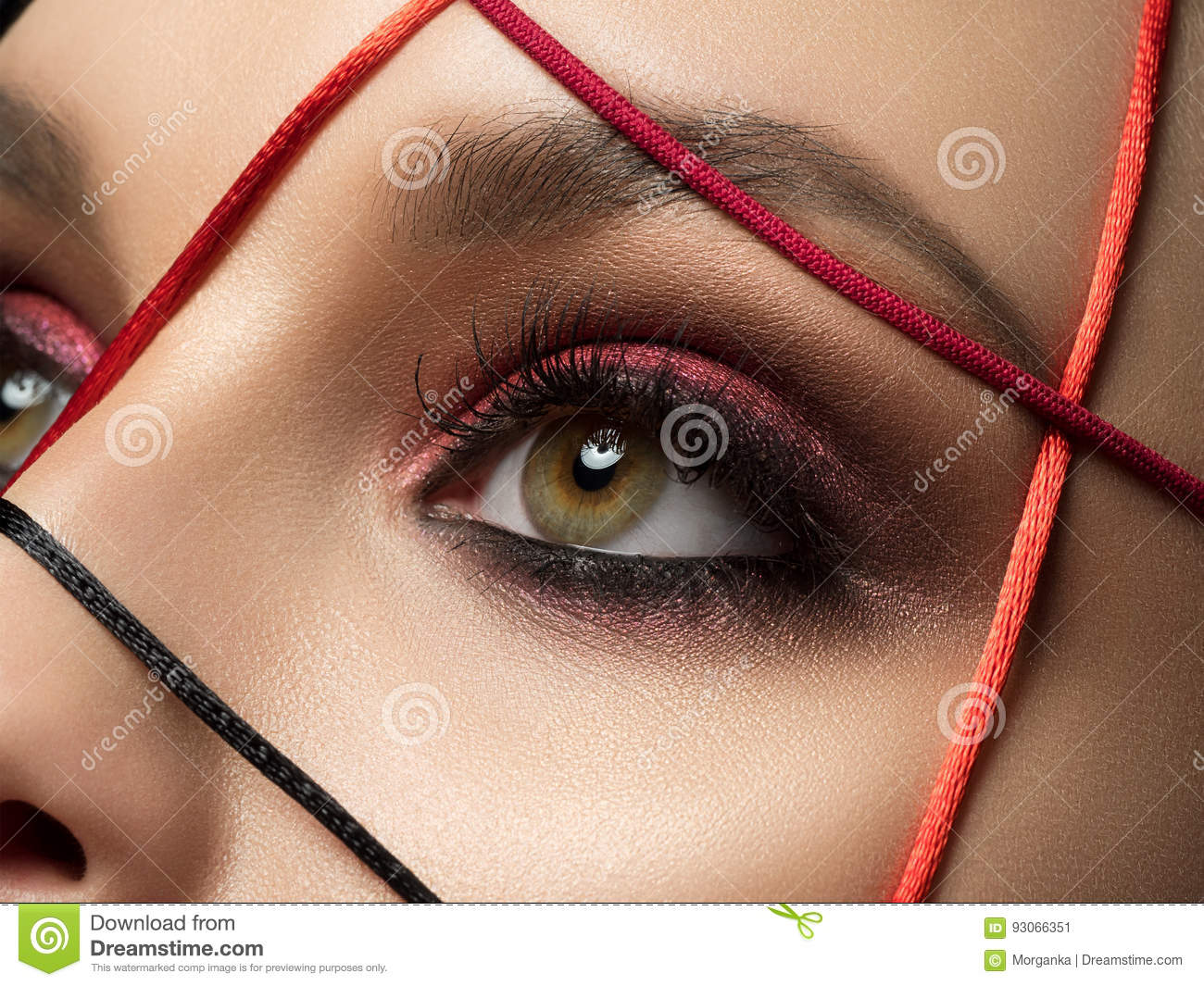 Closeup Fashion Portrait Of Young Woman Stock Image Image Of