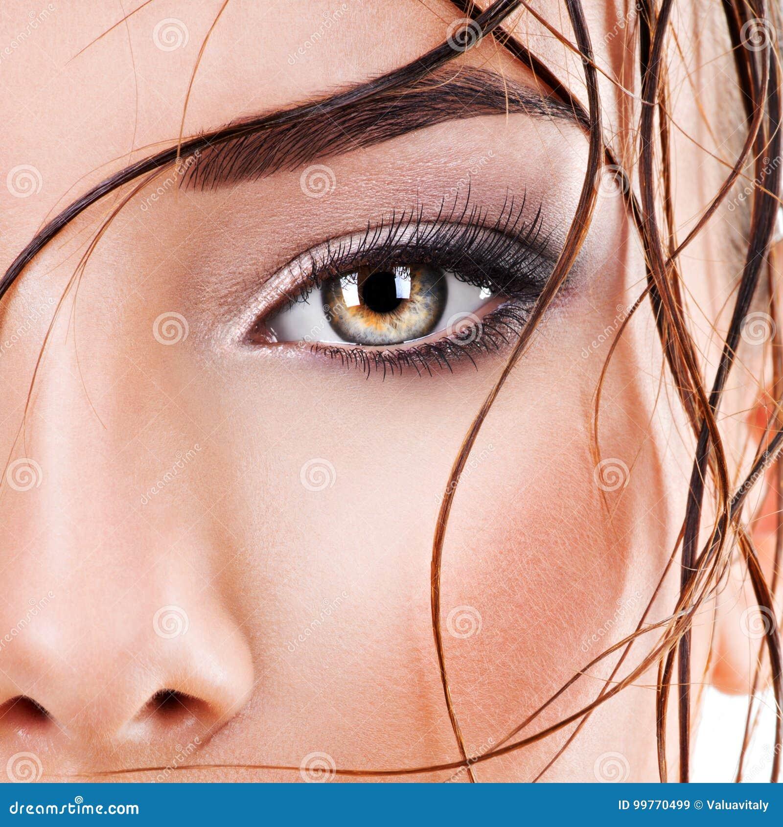 Closeup Female Eye With Dark Brown Eye Makeup Stock Image Image Of