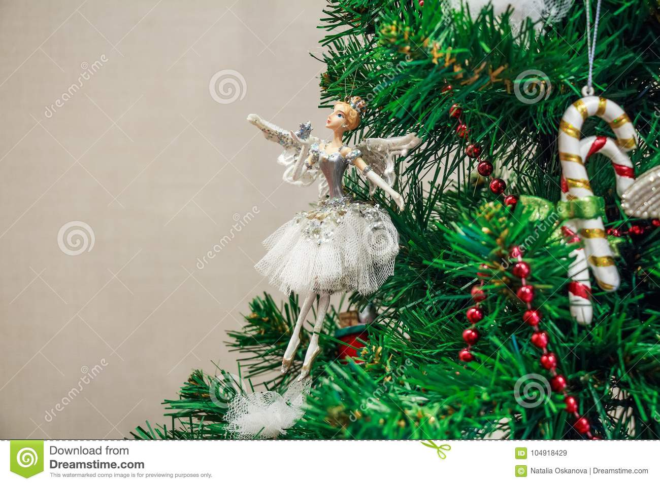 Close Up Christmas Toy Of Ballet Dancer On Tree Stock Image Image