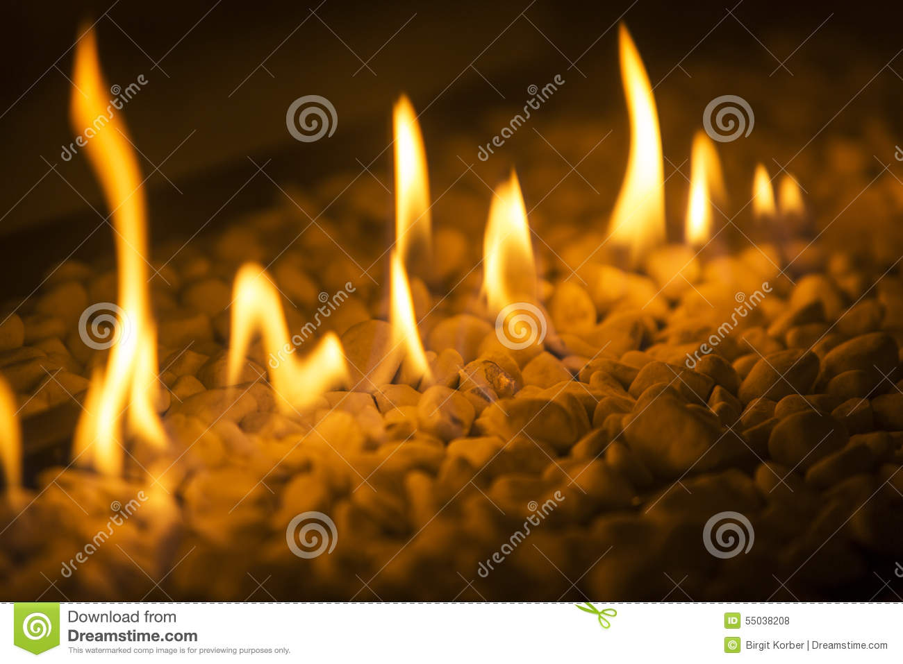 Closeup Of Fire Flames In A Chimney Stock Photo Image