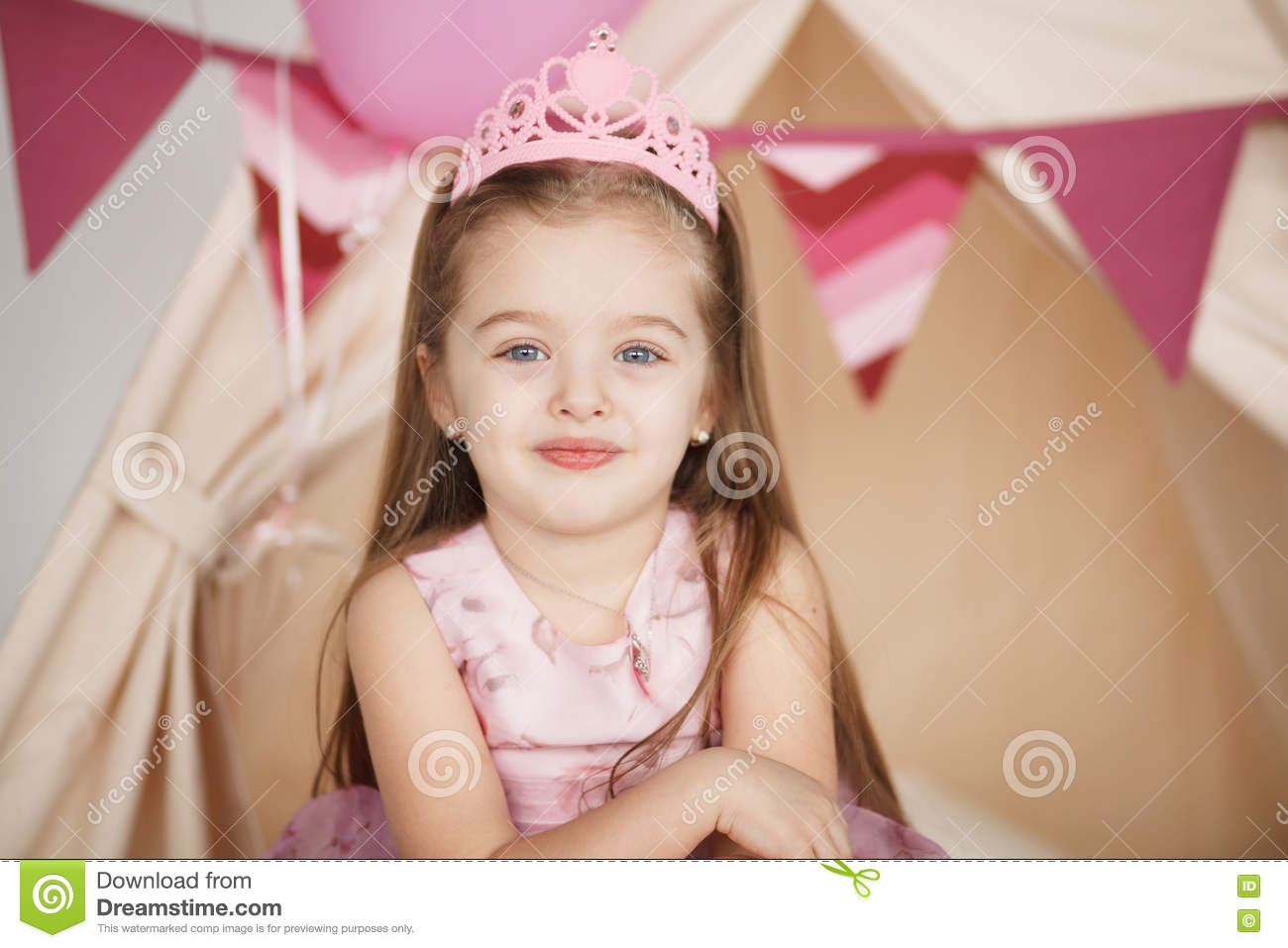 Closeup funny little princess girl in pink crown and dress