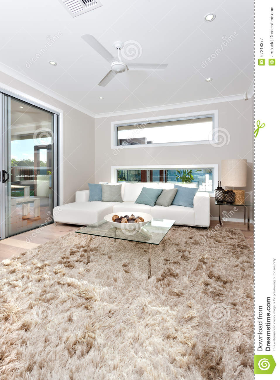 Closeup Of A Fur Carpet On The Wooden Floor In Modern Living Roo ...