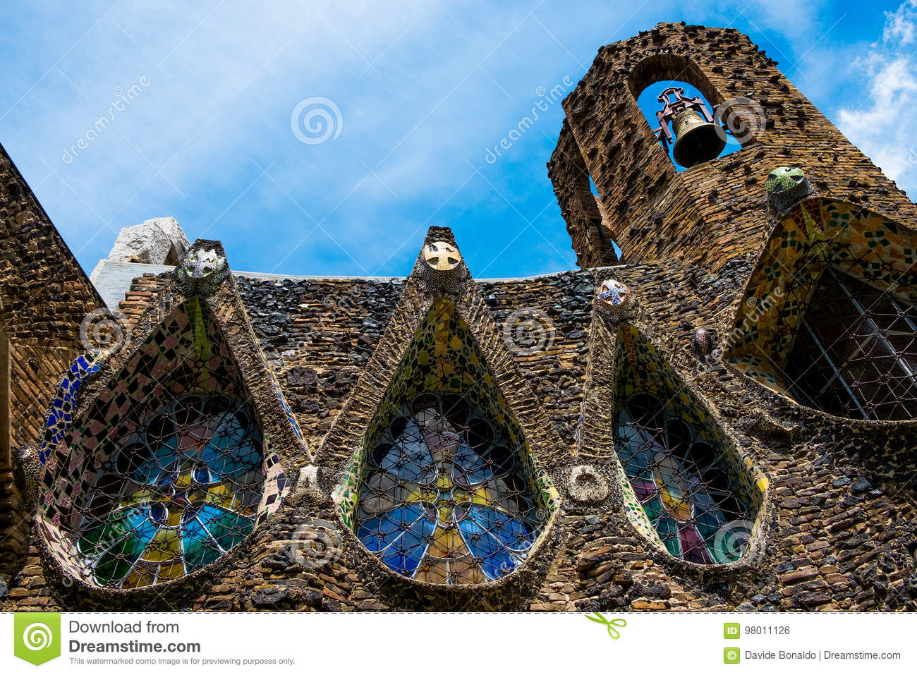Closeup of gaudi colonia guell church in modernist style in sunny day