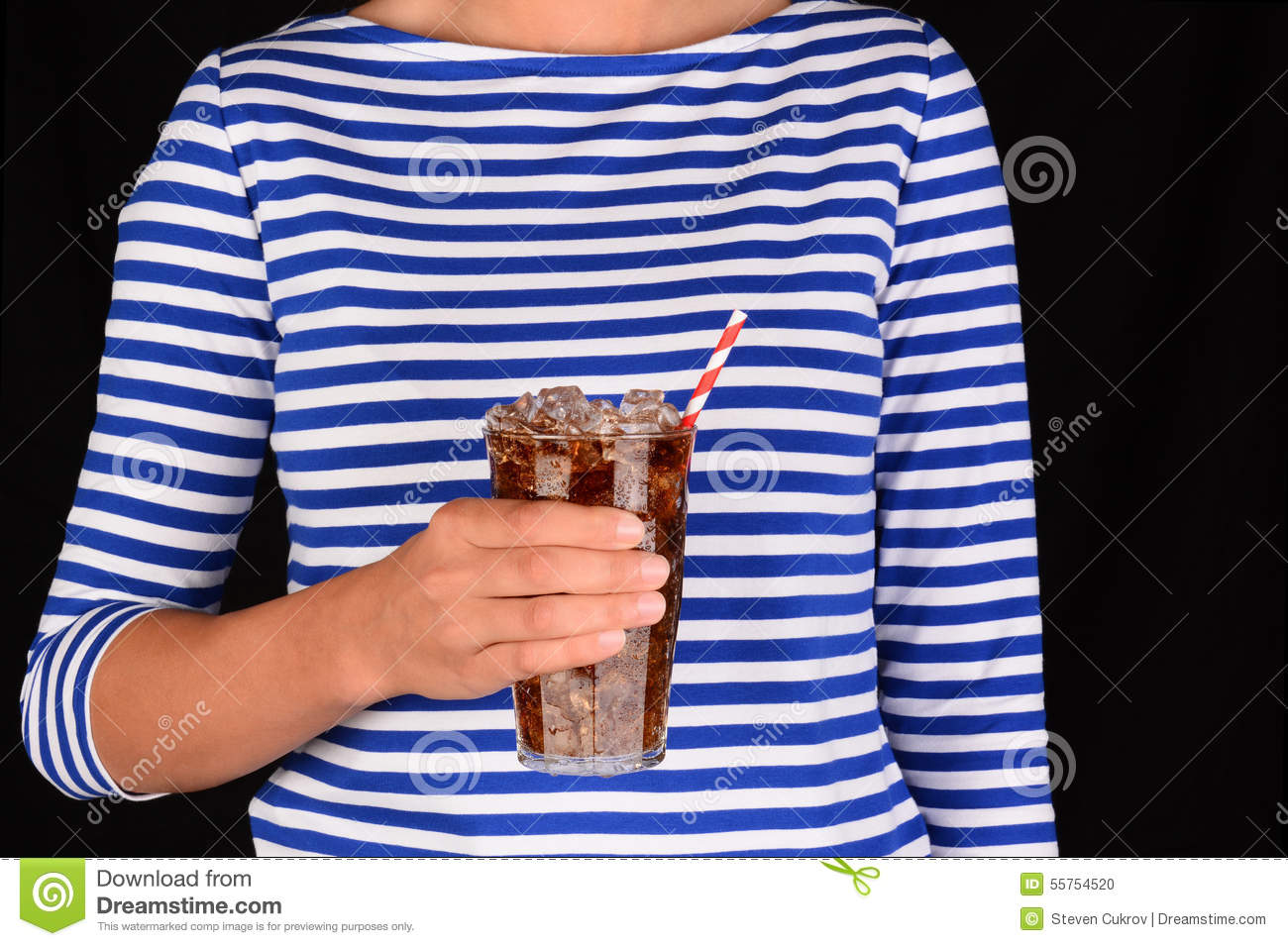 Closeup Girl With Cold Glass of Soda
