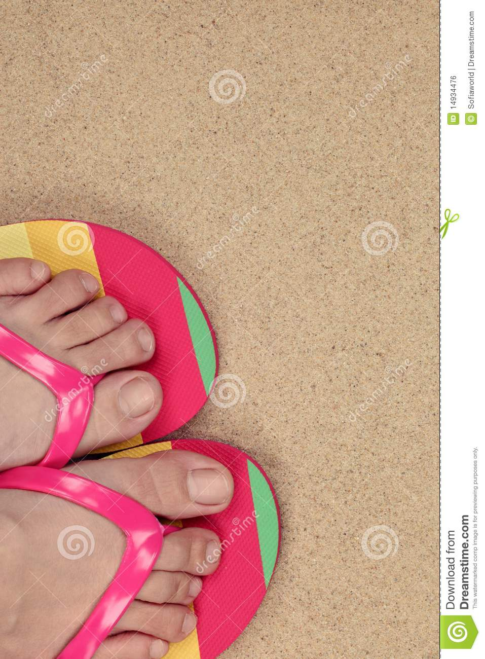 6a8b64479b9abe Closeup Of A Girl s Feet Wearing Flip Flops. Stock Photo - Image of ...
