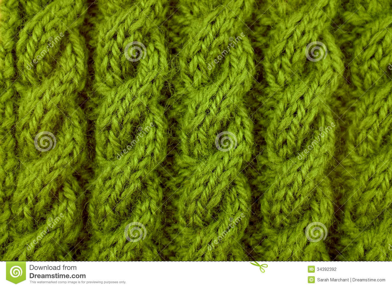 Closeup Of Green Cable Knitting Stitch Stock Photo - Image of ...