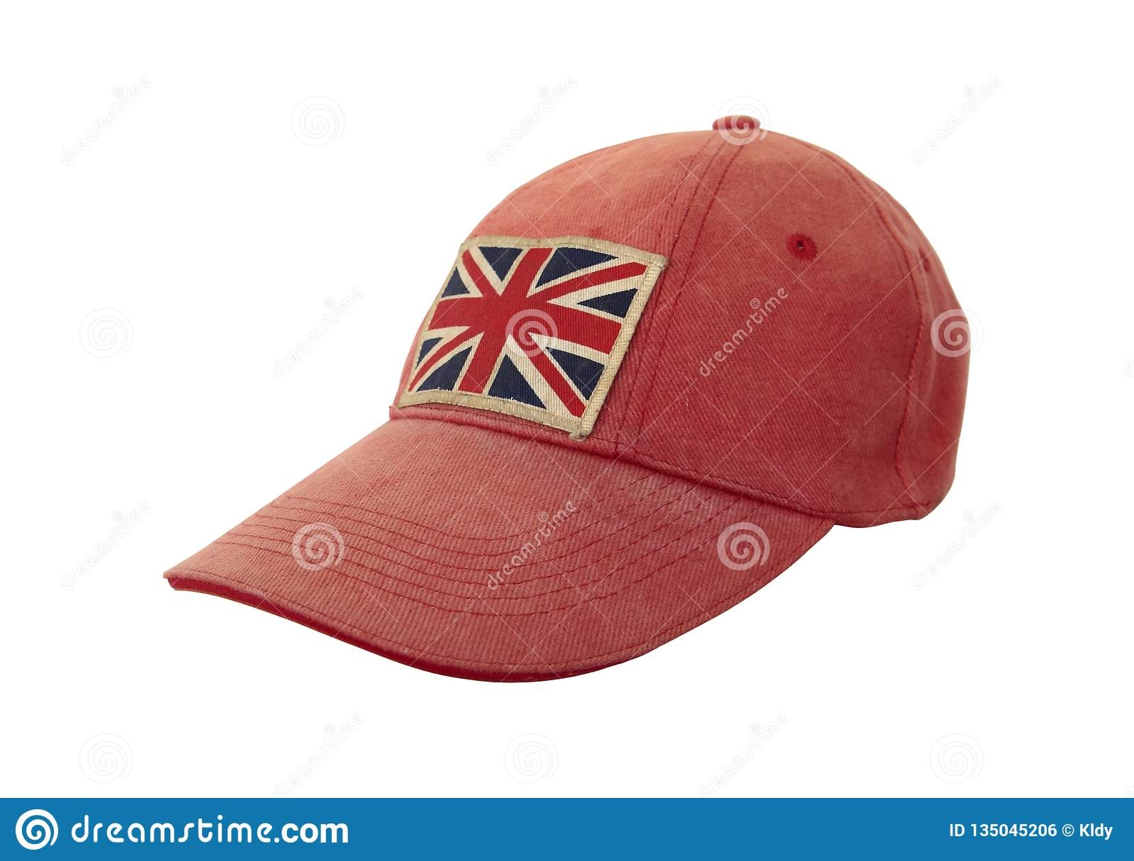 Closeup of grungy weathered cap with British flag on white background. Anglomania concept