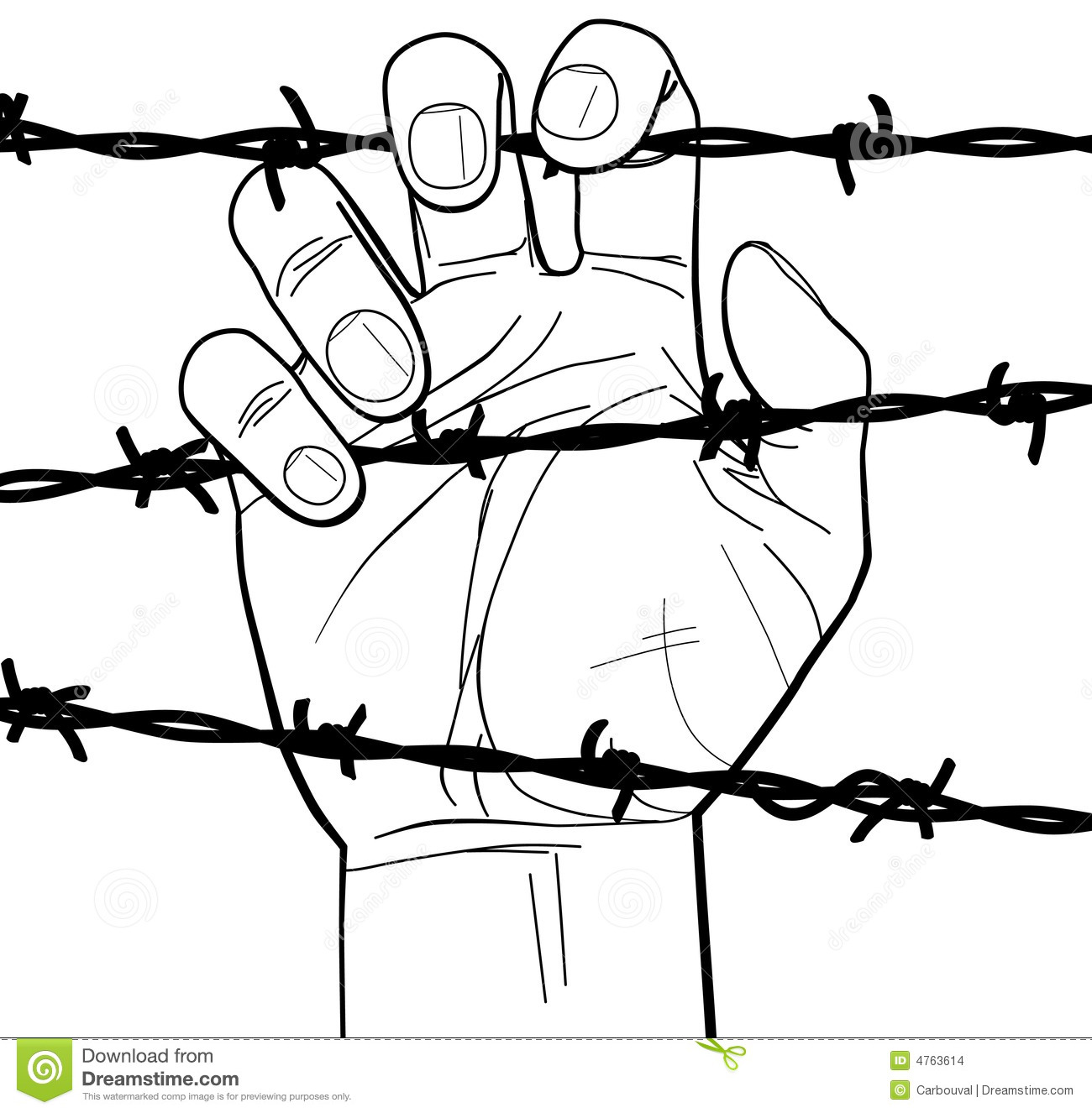 closeup of a hand on barbed wire stock images