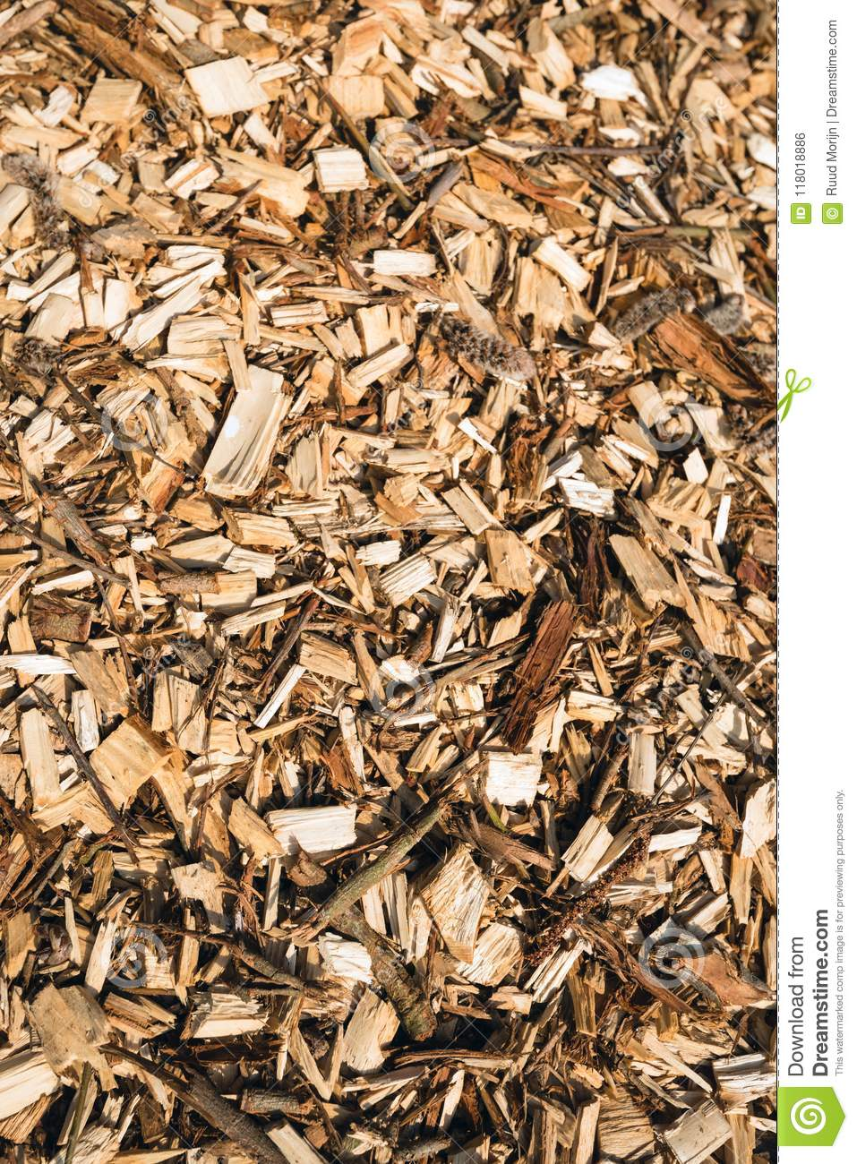 Wood chips up close