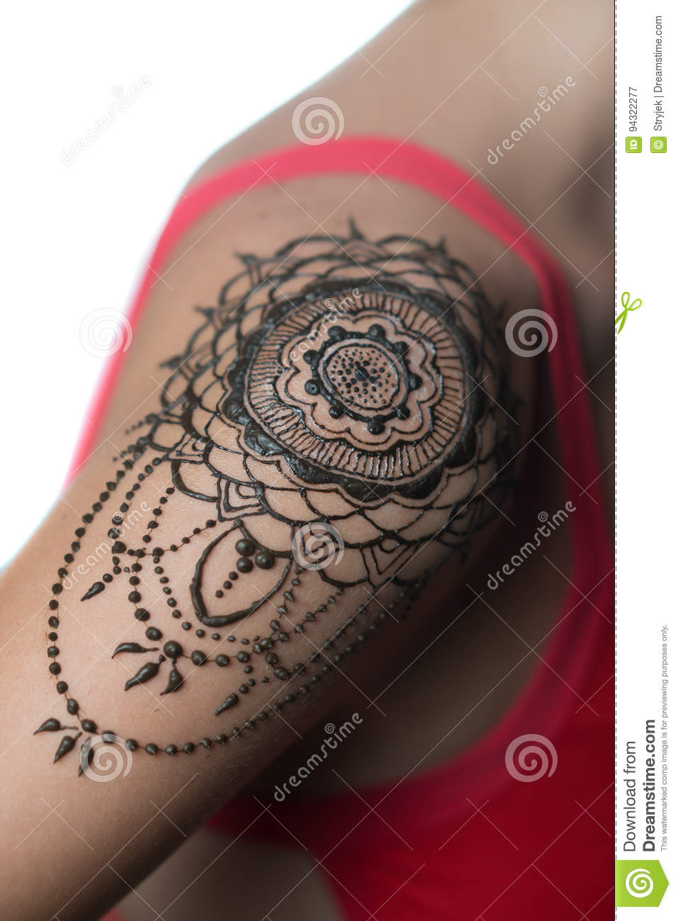 What Stores Sell Henna Tattoo Ink: Closeup Henna Tattoo On Woman`s Shoulder Stock Image