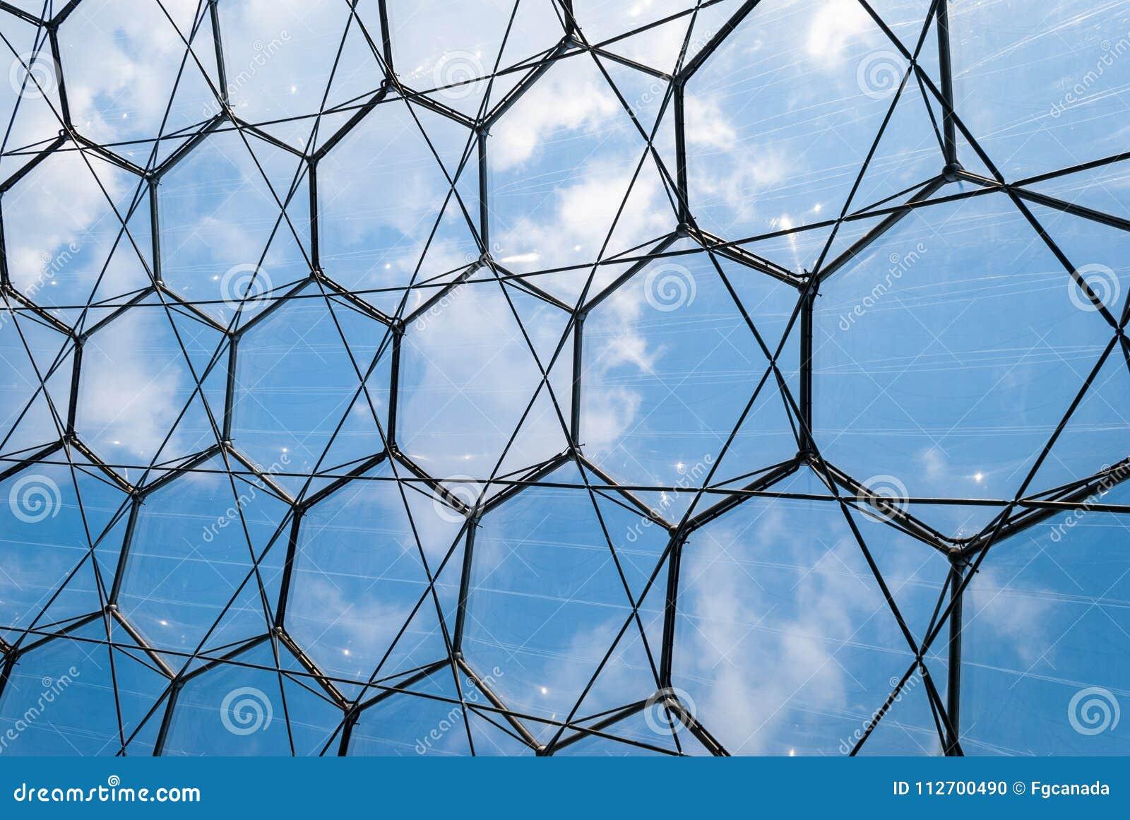 Closeup Of Hexagonal Structure Eden Project Cornwall UK