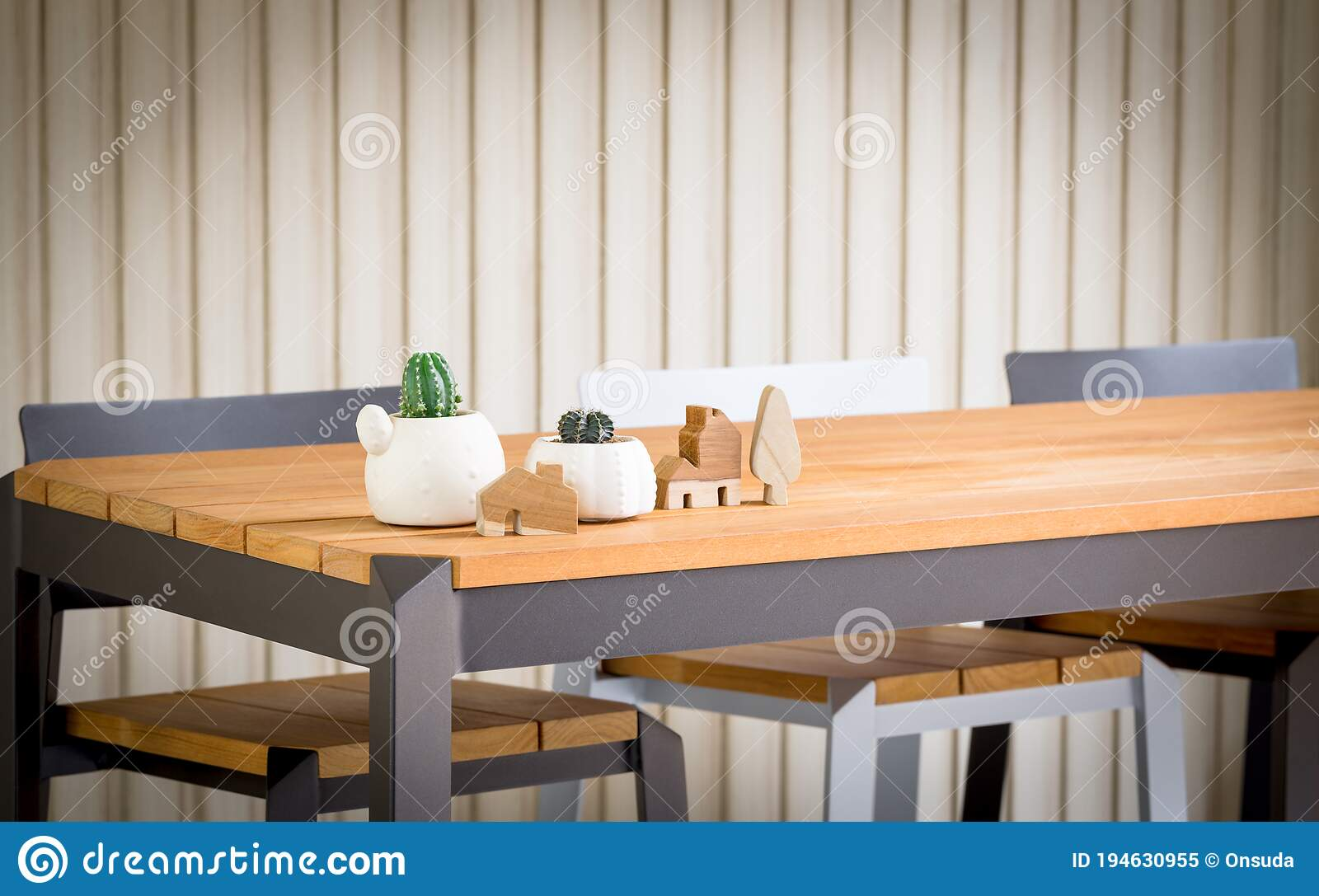 Picture of: Closeup High Wooden Bar Table And Chairs Stock Image Image Of Object Cactus 194630955