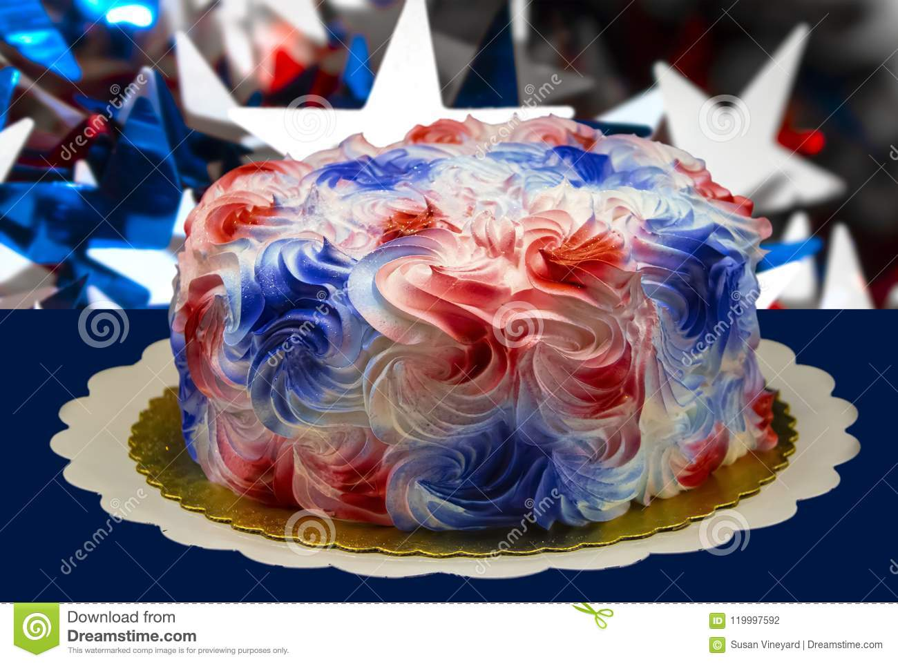 Sensational Closeup Of A Holiday Cake With Creamy Sugary Red White And Blue Funny Birthday Cards Online Alyptdamsfinfo