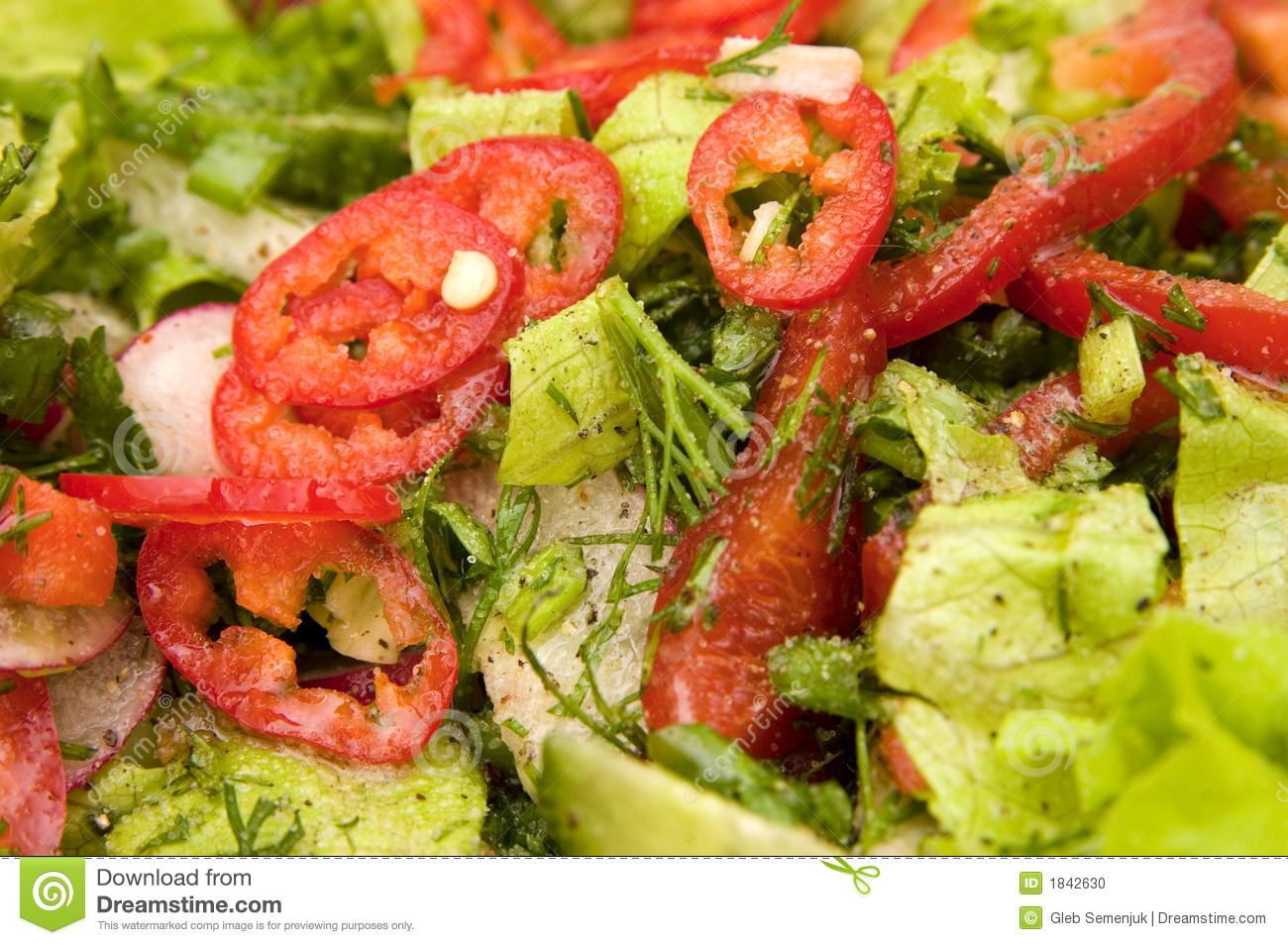 Closeup Of Hot Chili Pepper And Vegetable Salad Stock Photo - Image ...