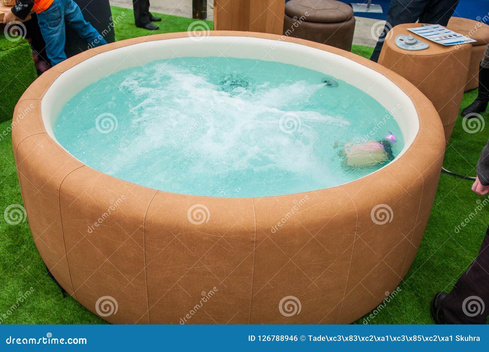 Closeup of hot tub