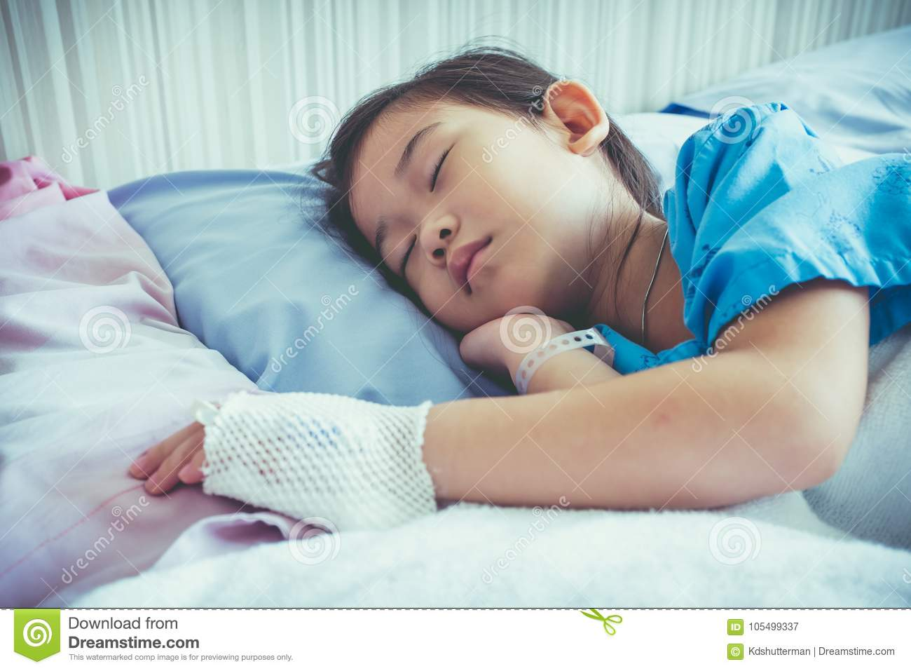 Illness Asian Child Admitted In Hospital With Saline ...