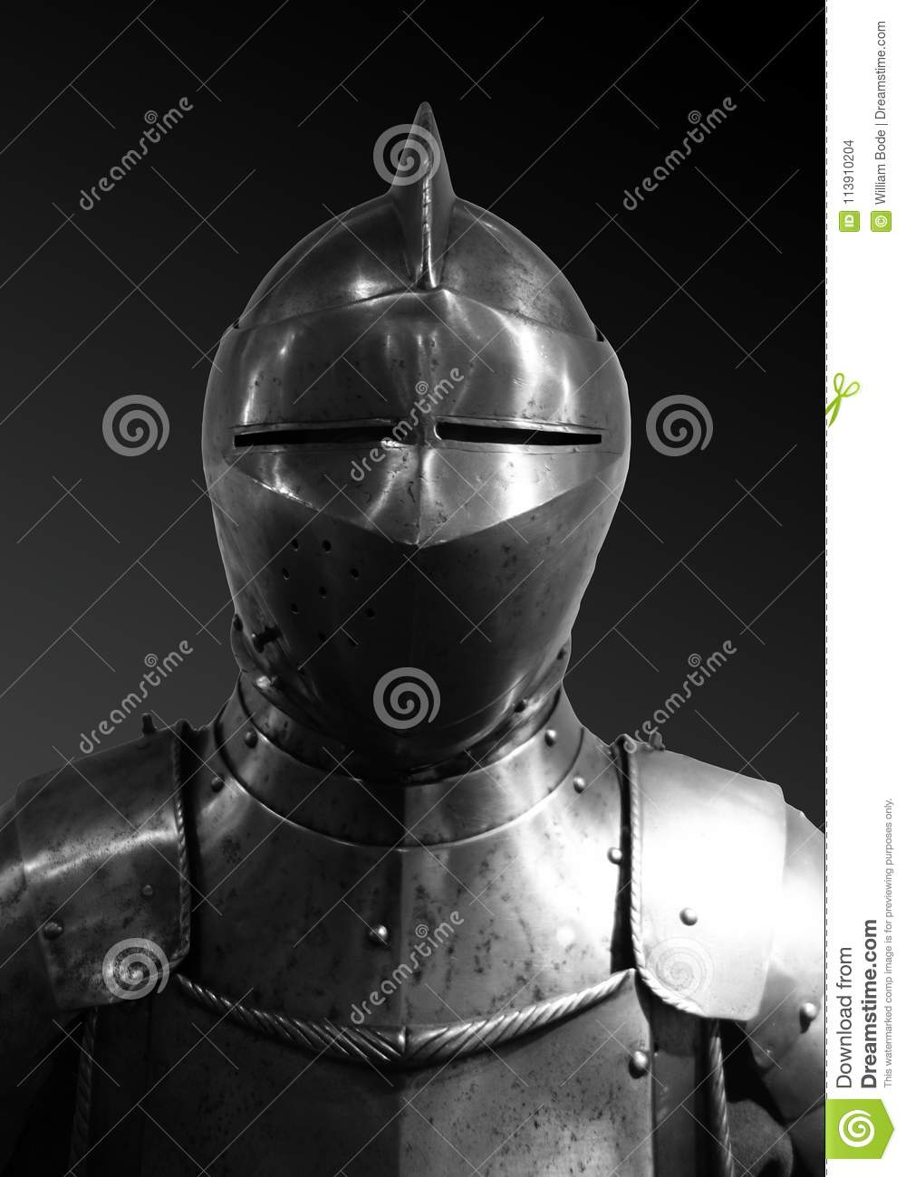 Front View Medieval Knights Armor Suit Helmet Stock Photo