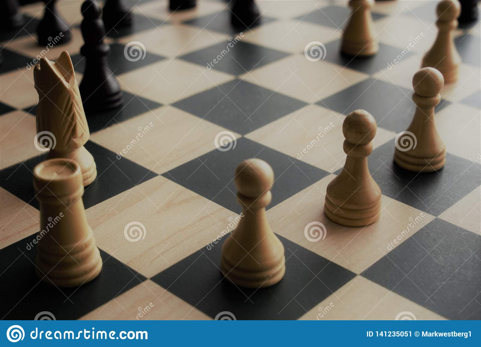 Closeup image of chess pieces
