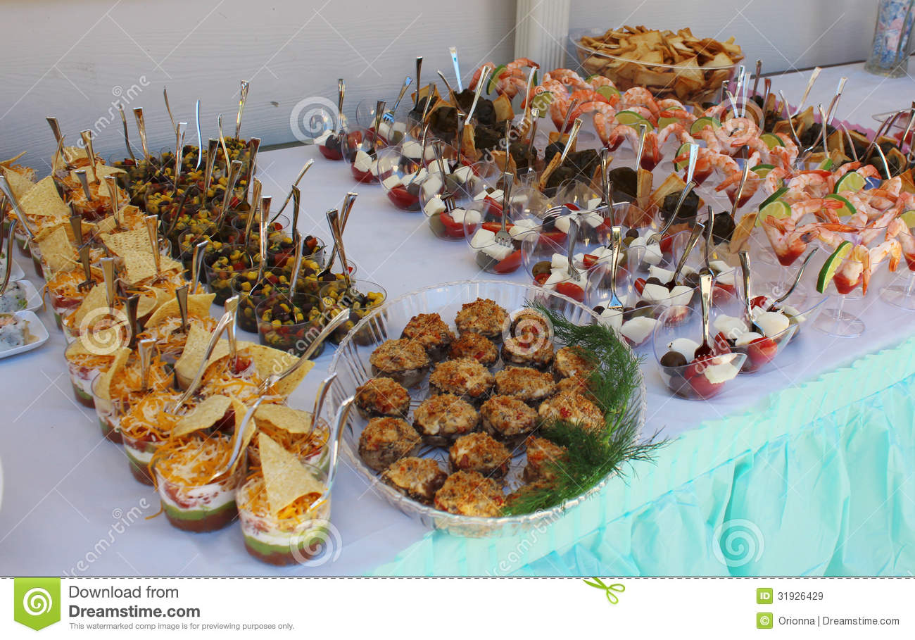 Snacks For Baby Shower Party ~ Closeup image of gourmet snacks at the party royalty free