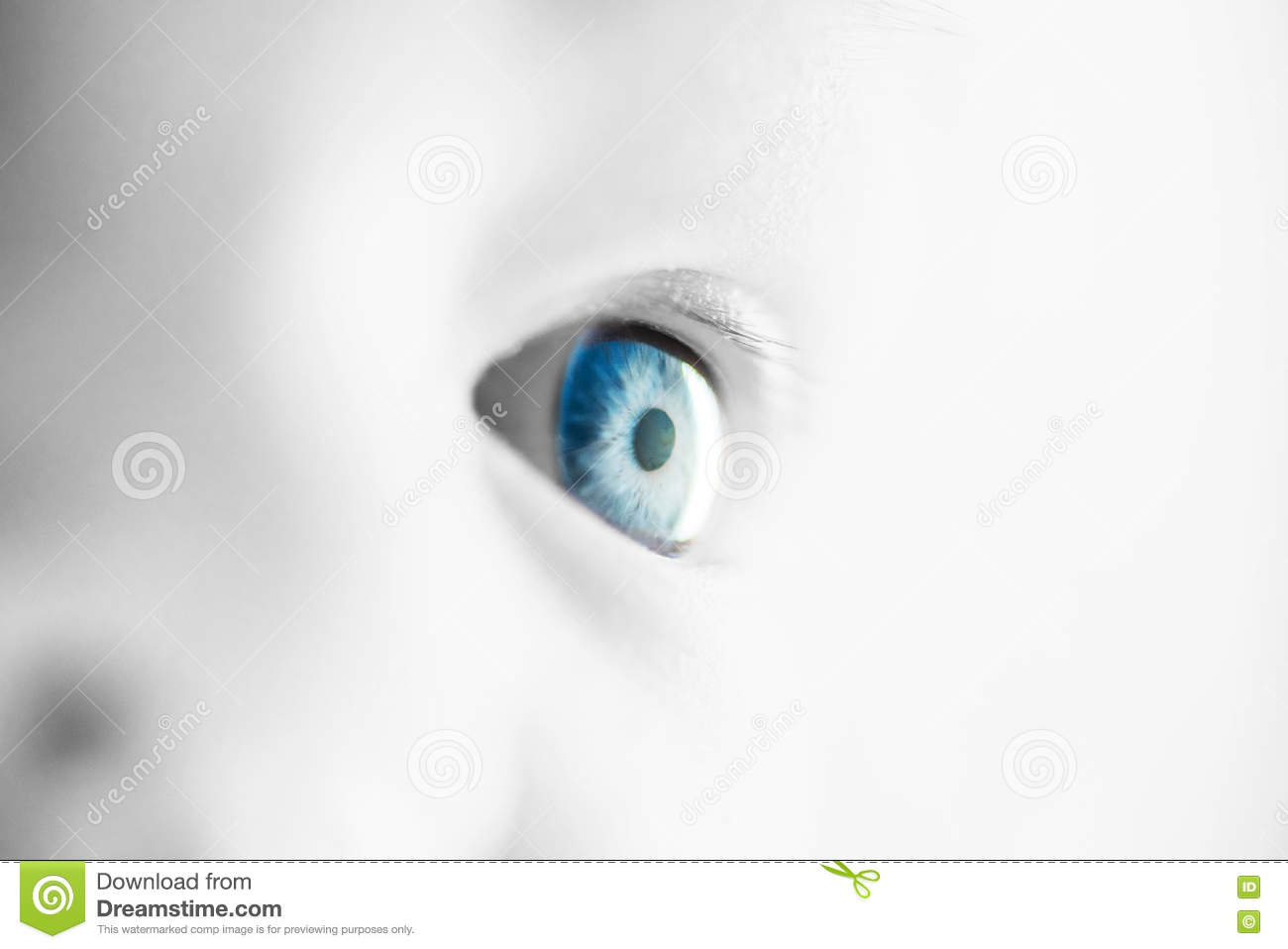 Closeup image of infant eye, selective color