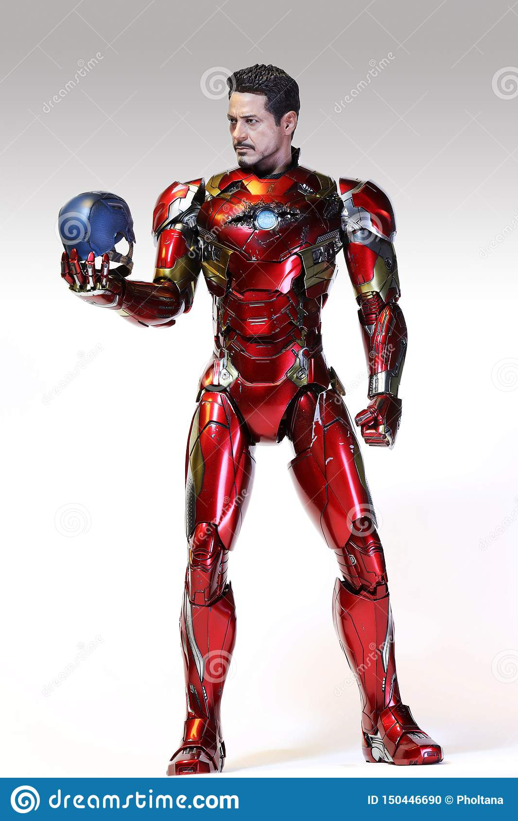 Closeup IRONMAN Statue Figure Model on White Background