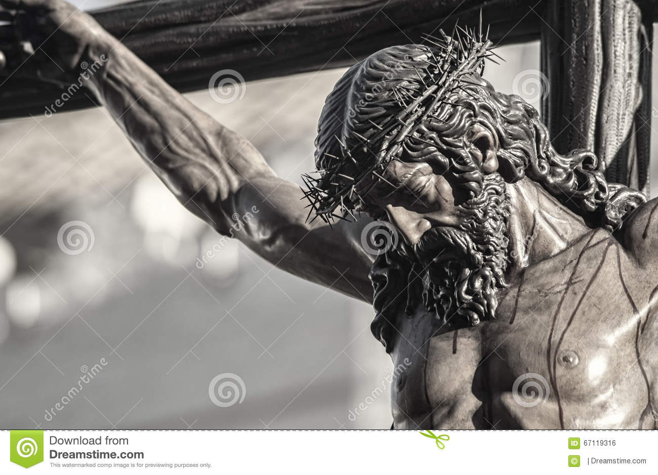 closeup of jesus on the cross holy week in seville brotherhood