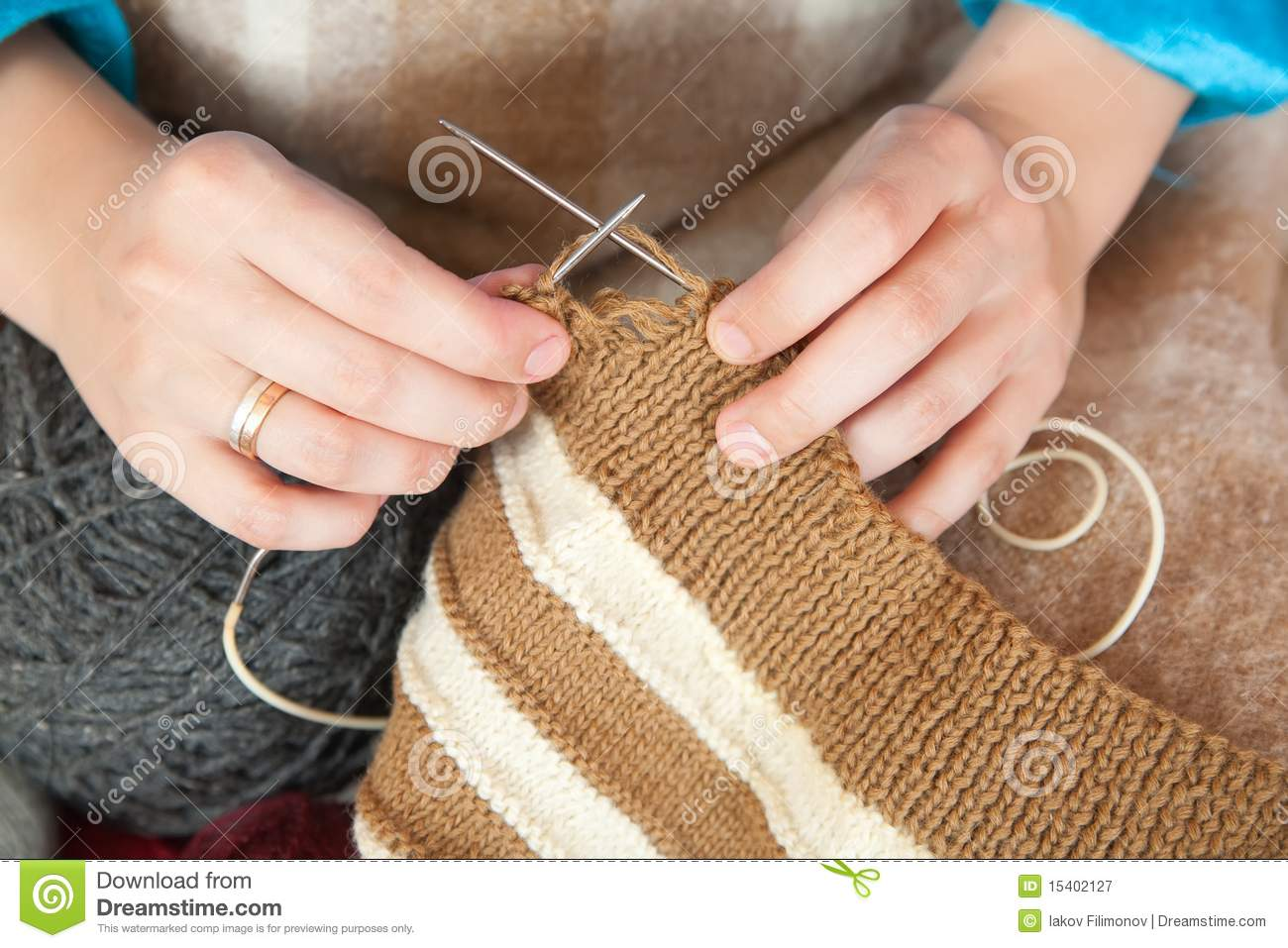 Knitting With Hands Only : Closeup of knitting woman hands royalty free stock