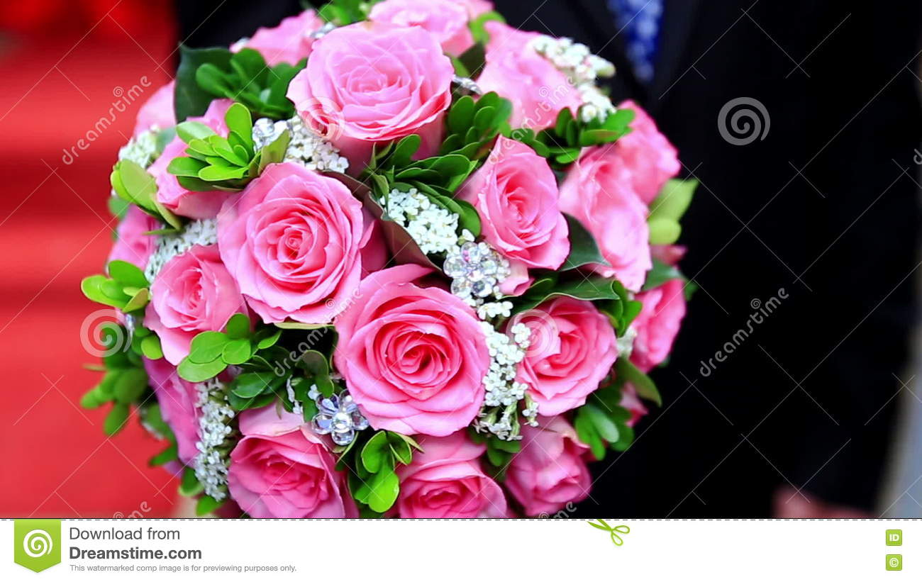 Closeup Large Wedding Bouquet Of Pink Roses Stock Footage - Video of ...