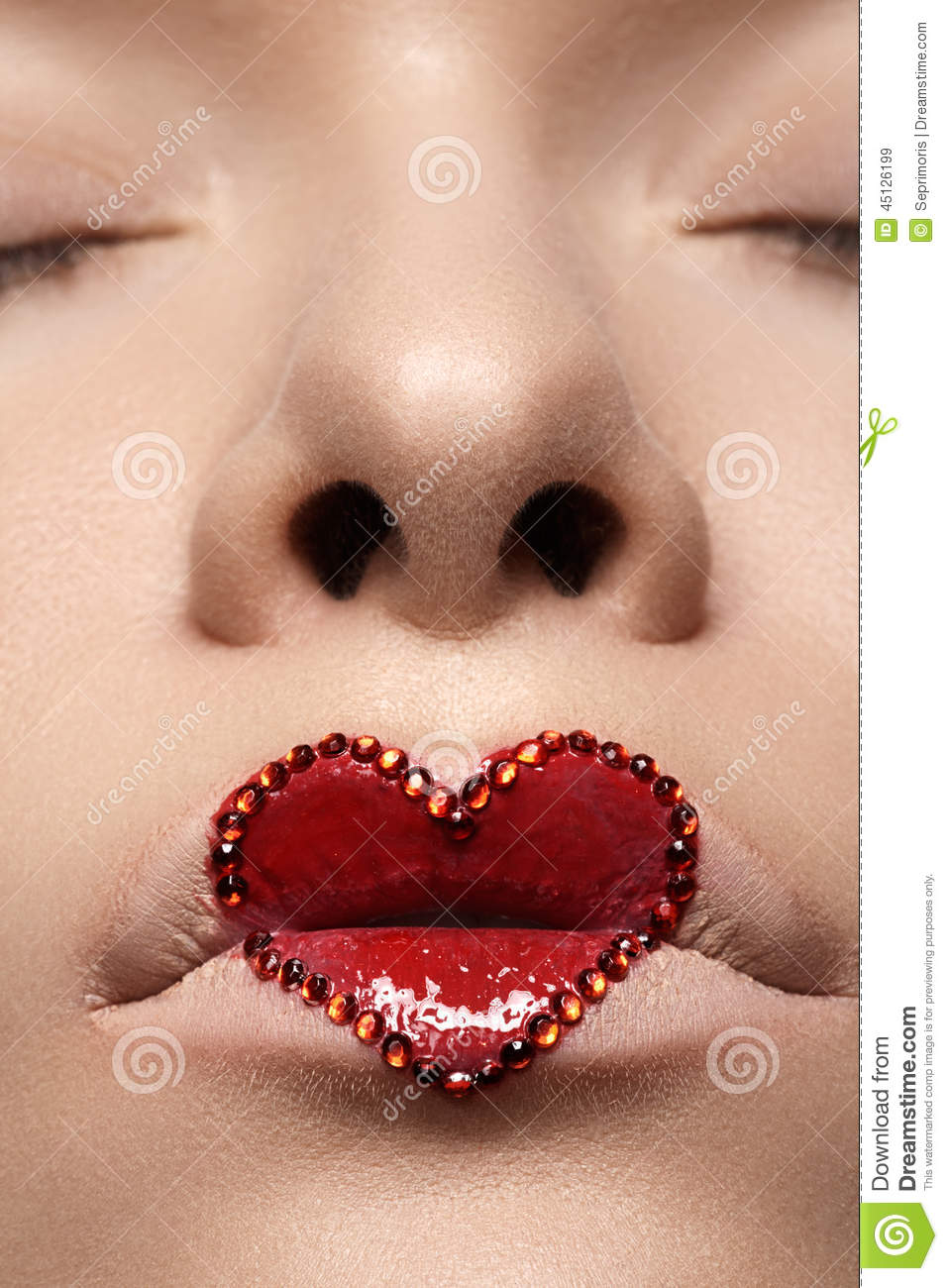 Closeup Lips With Red Heart Make Up U0026 Rhinestones. Valentines Day Style