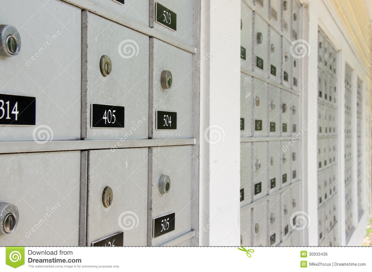 Closeup Of Metal Apartment Mailboxes With Locks Stock Photo ...