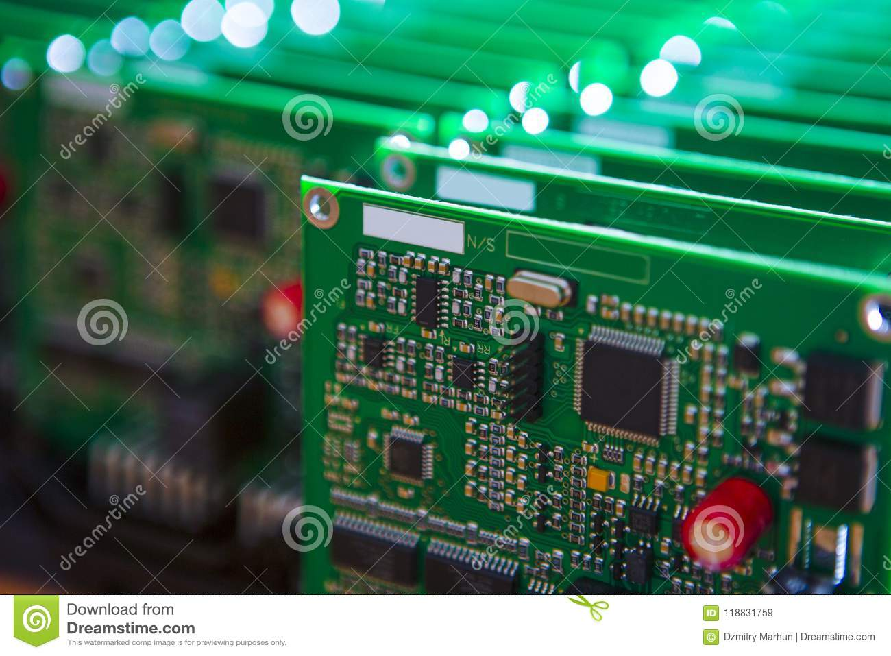 Closeup Of Lot Of Electronic Printed Circuits Stock Image - Image of