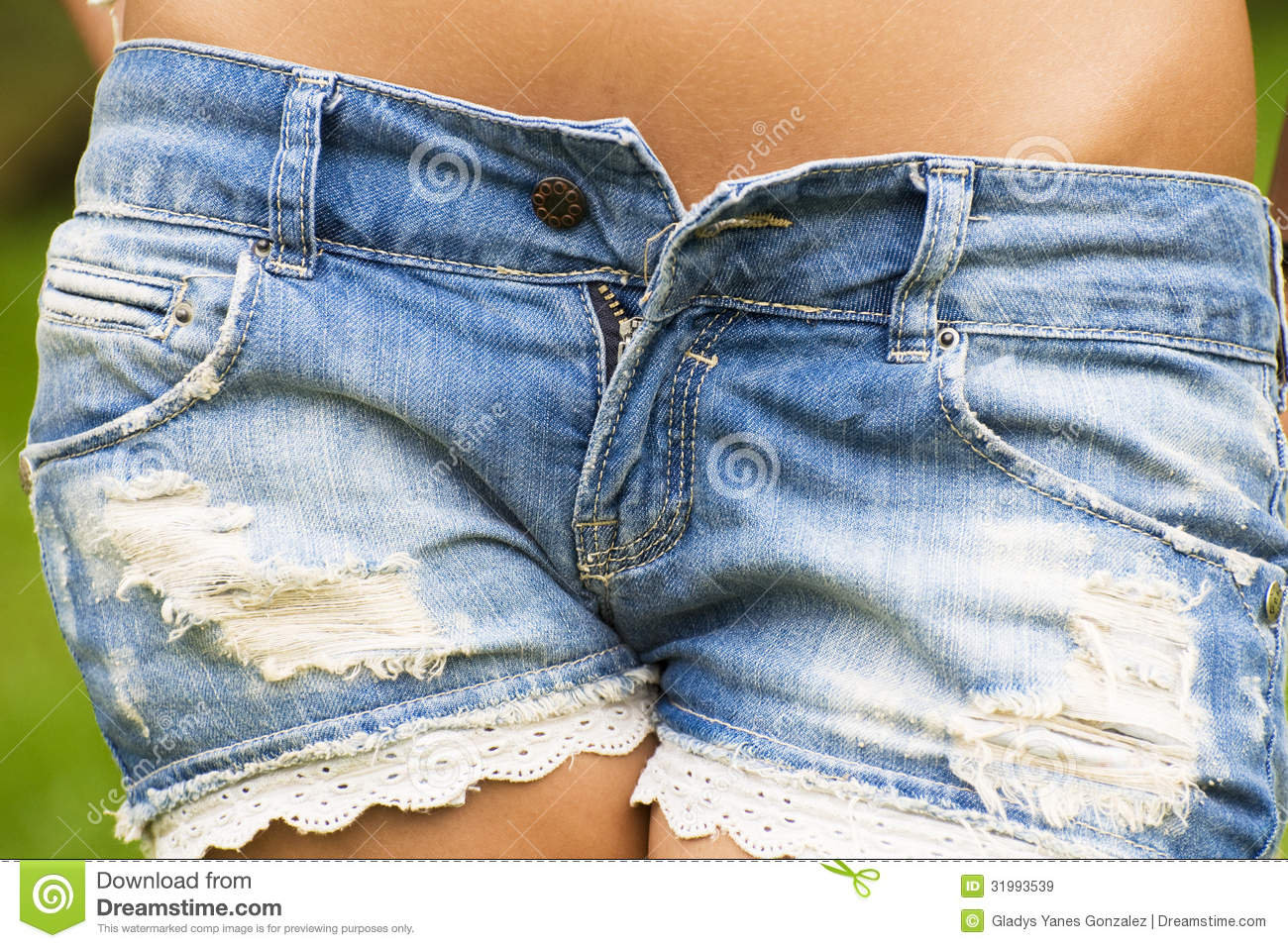 Closeup Of Low Cut Denim Shorts Royalty Free Stock Images - Image ...