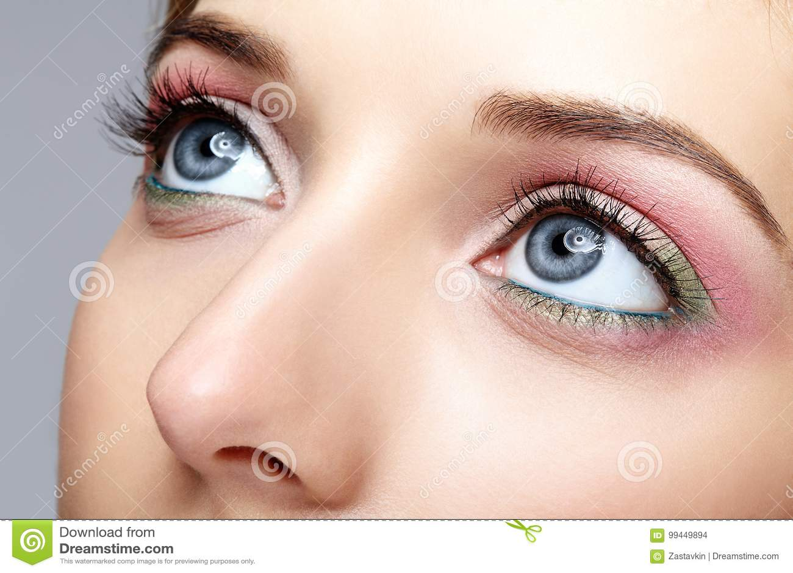 Closeup Macro Shot Of Human Woman Face With Eyes Day Makeup Stock