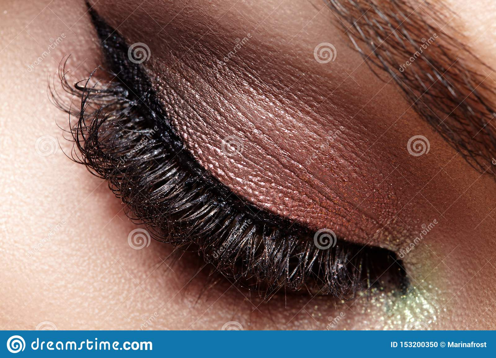 Closeup Macro of Woman Face with Eyes Make-up. Fashion Celebrate Makeup, Glowy Clean Skin, Extra Long Eyelashes