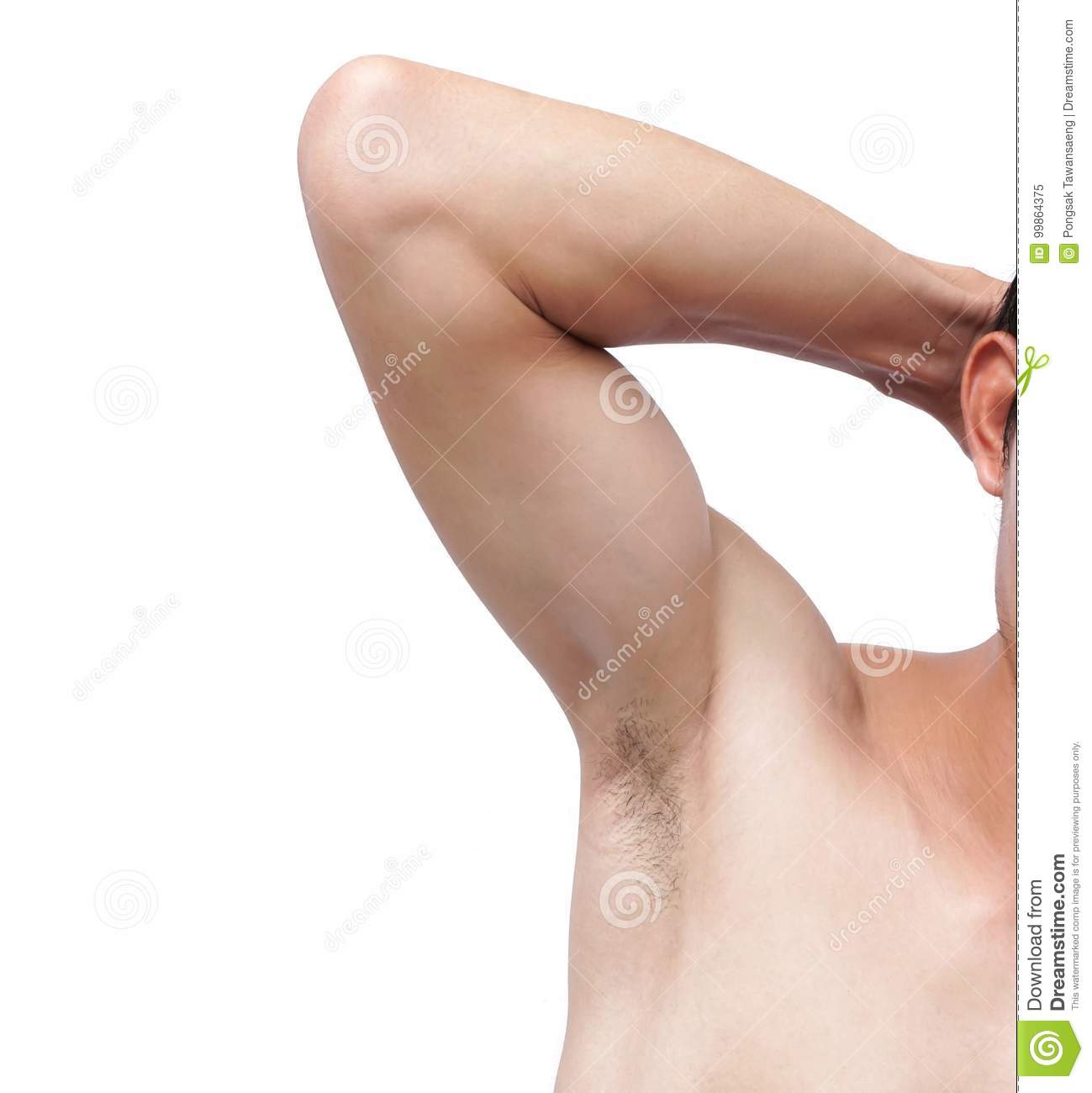 Closeup Of Man Armpit And Hair On White Background Healthcare A